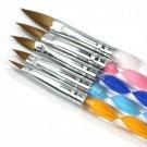 5 X 2-Ways Acrylic Nail Art Brush Cuticle Pusher Drawing Painting Pens Tool Set