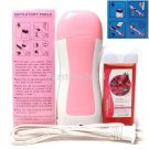 Pink Hair Removal Roller Depilatory Heater Strawberry Wax Warmer Paper Full Kit