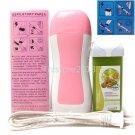 Pink Hair Removal Roller Depilatory Heater Kiwi Fruit Wax Warmer Paper Full Set
