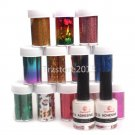 3in1 Pro 12 Color Nail Art Tips Transfer Foil Sticker 2Pcs Glue Adhesive 8ml Set
