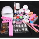 Mini Portable White Blower Dryer Acrylic Liquid Powder Nail Art Tips Tools Kit