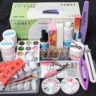 25in1 Nail Art UV Gel Kits 9W UV Lamp Dryer Brush Tips Top Coat Tools Set