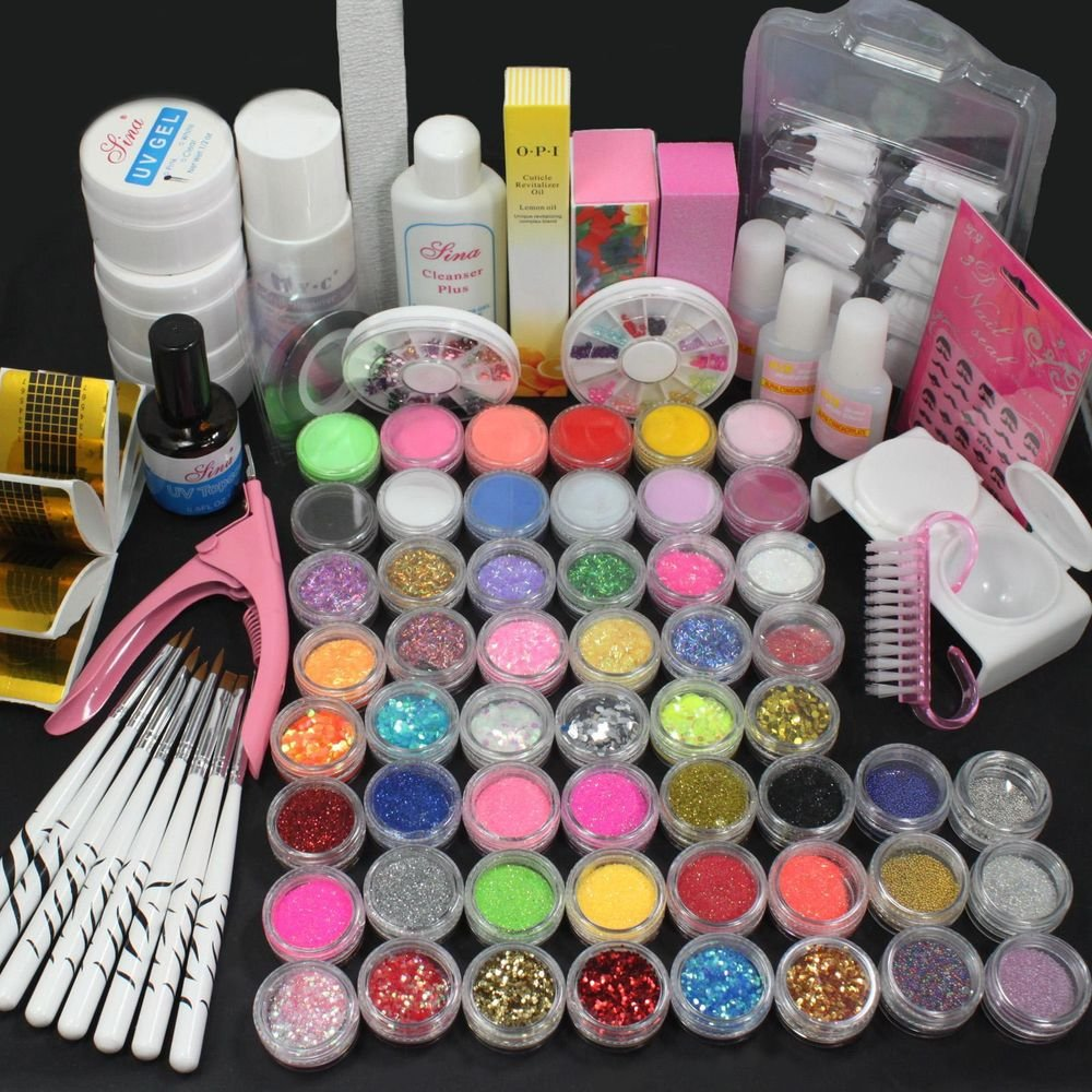 27in1 Nail Art Brush Glue Glitter Powder Top Coat UV Gel Tools Salon Set Kits