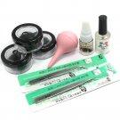 8 10 12 mm False Individual Extension Black Eyelash Glue Remover Tweezer Kit Set
