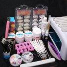 US Seller UV Gel Lamp Dryer Brush Cuticle Pusher Nipper Nail Tips Art Tools Set