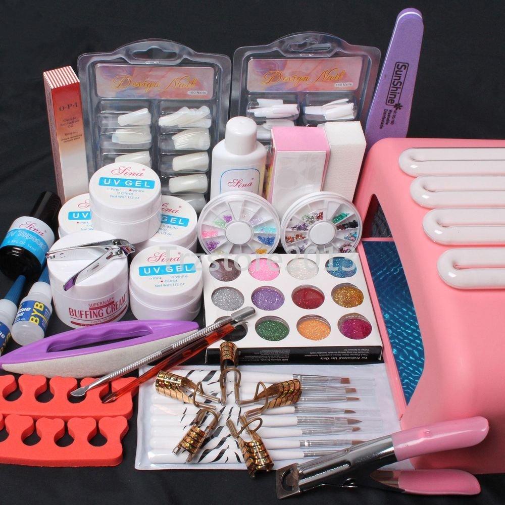 Pro Nail Art Tips Set UV Builder Gel Brush 36W Timer Dryer Lamp Decorations Tool