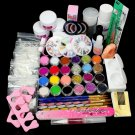 DIY Full Nail Art Set Acrylic Glitter Powder Primer Tips Brush Glue Dust Kit Set