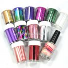 2 IN 1 12 Colors Nail Art Transfer Foil Sticker Roll Nail Tips Glue Adhesive Set