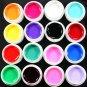 Hot 16 Pcs Solid Pure Mix Color Acrylic False Tips Nail Art UV Builder Gel Set
