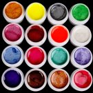 Hot 16 Color Pearl UV Builder Gel Acrylic Nail Tips Art Beauty Salon Tools Set