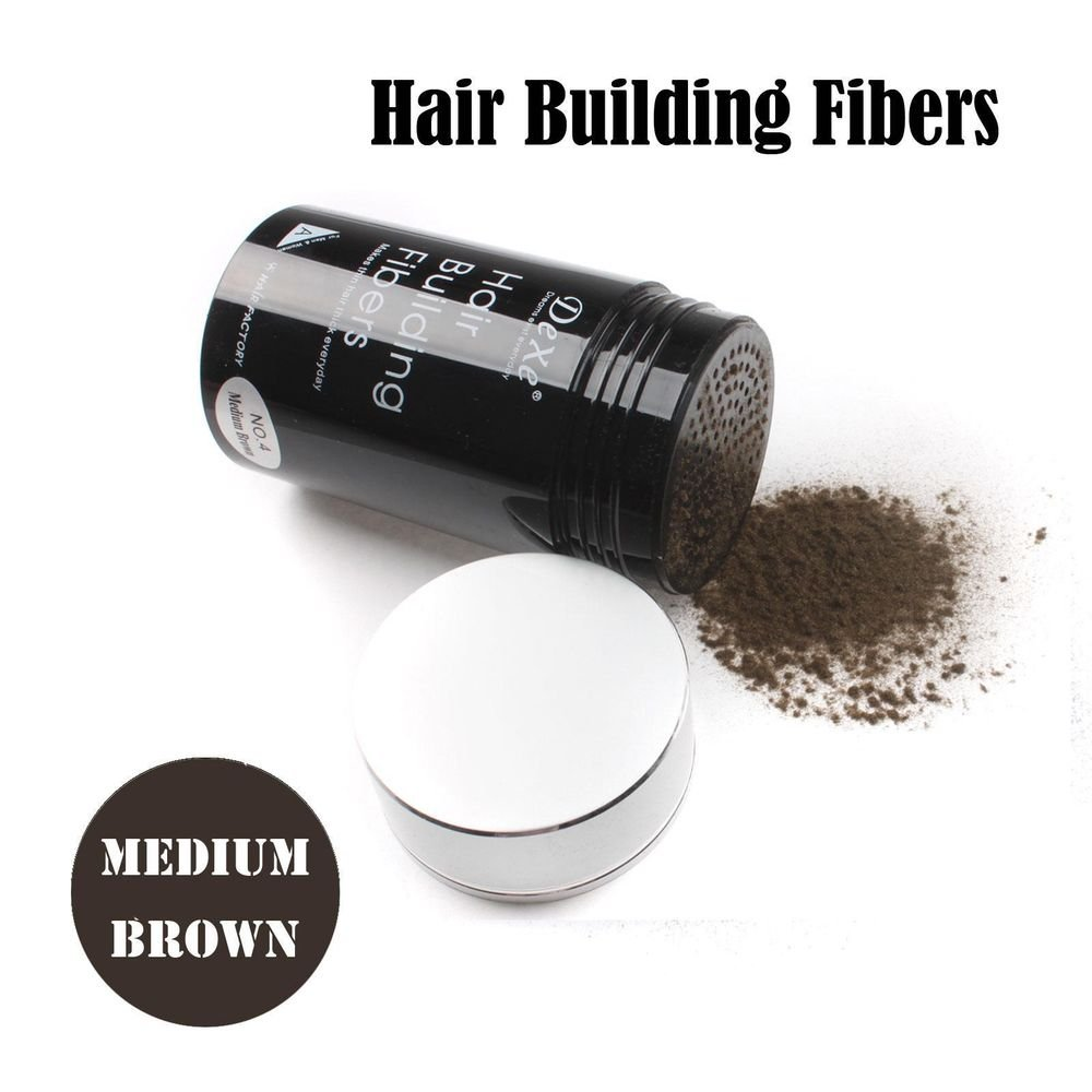 Easy to Use Hair Building Fibers Medium Brown Color 22g with Tracking Number