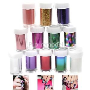 12 Color Galaxy Nail Art Tips Design Transfer Foils Sticker Decoration Kit Set