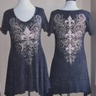 New Vocal Fleur De Lis Crystals Long Top Tunic Mineral Wash Black Plus Size 1X