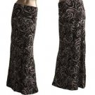 Swirl Print Fold Waist Maxi Long Skirt Black Gray  S M L XL