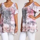 Burnt Sublimation Crystals Cold Shoulder Peep T Shirt Top Pink Plus 1XL 2XL
