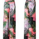 Sale Wide Leg Fold Waist Paisley Print Razor Hem Palazzo Pants Neon Pink S