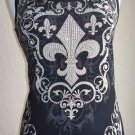 Vocal Saints Biker Western Fleur De Lis Crystals Tank Top Black Plus 1X  2X