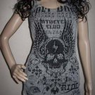 Vocal Biker Chick Wings Skull Crystals Tank Top Mineral Wash Gray S M  XL
