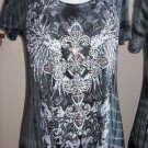 Vocal Cross Wings Crystals Tunic Top Ombre Tie Dye Black Gray Plus 1X 2X