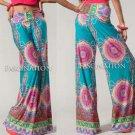 Wide Leg Fold Waist Circle Print Razor Hem Palazzo Pants Teal Blue Pink S