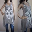Vocal Crystals Shark Bite Hem Floral Cross T shirt Tunic Dress Top Gray S M