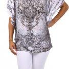 Burnt Sublimation Crystals Skulls Dolman Sleeve T Shirt Top White Plus 2X