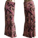 New Fold Waist Maxi Long Skirt Baroque Print Black Pink yellow Coral S M
