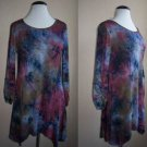 Navy  Tie Dye 3/4 Sleeve Long Asymmetrical Tunic T Shirt Plus Size  2XL 3XL