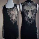 New Vocal Tattoo Biker  Cross  Crystals Cotton Tank Top Black Plus Size 1X 2X