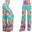 Sale Wide Leg Fold Waist Fiesta Print Razor Hem Palazzo Pants Mint Coral S  L