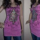 New Vocal Biker Chic Western Fleur De Lis A.B. Crystals Tank Top Hot Pink S M L