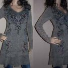 Vocal Mineral Wash Gray Crystal Tattoo Scroll Layer Hem Tunic Dress Top S M