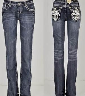 NWT LA Idol Fleur De Lis Crystal Back Button Pocket Boot Cut Jeans Sizes 0 - 7