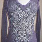 Sale New Vocal Cross Crystals Tattoo Biker Long Sleeve T Shirt Purple S M L