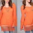 New Long Sleeve Crocheted Lace Tunic Top Umgee Dusty Orange Plus Size XL 1XL 2XL