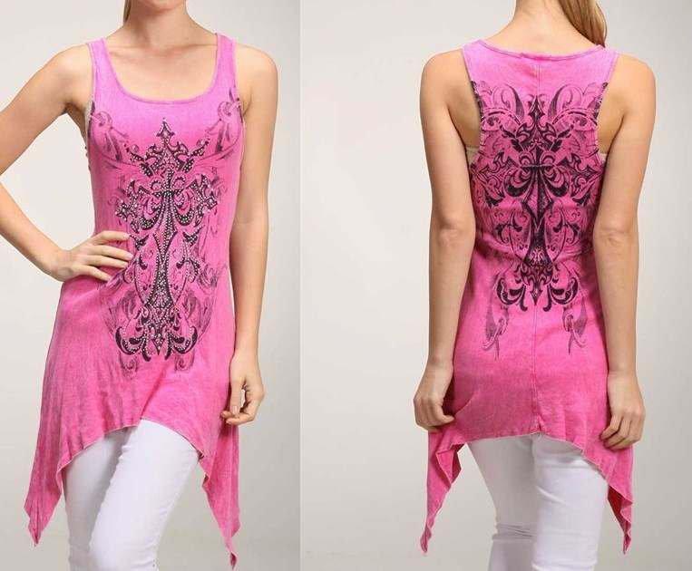 New Urban X Tattoo Style Cross Fleur De Lis Crystals Hem Tank Top Pink S M L