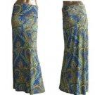 New Baroque Print Fold Waist Maxi Long Skirt Blue Mint  Green S M L XL