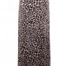 New Leopard Print Fold Waist Maxi Long Skirt Classic Brown Black  XL