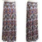New Tribal Print Fold Waist Maxi Long Skirt Brown Blue Gray Plus Size XL 2XL 3XL