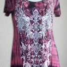 New Vocal Cross Wings Crystals Tunic T Shirt Top Tie Dye Black Red Plus 1X 2X 3X