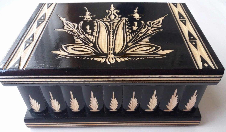 New big huge black wood treasure pirate mystery jewelry secret magic puzzle box