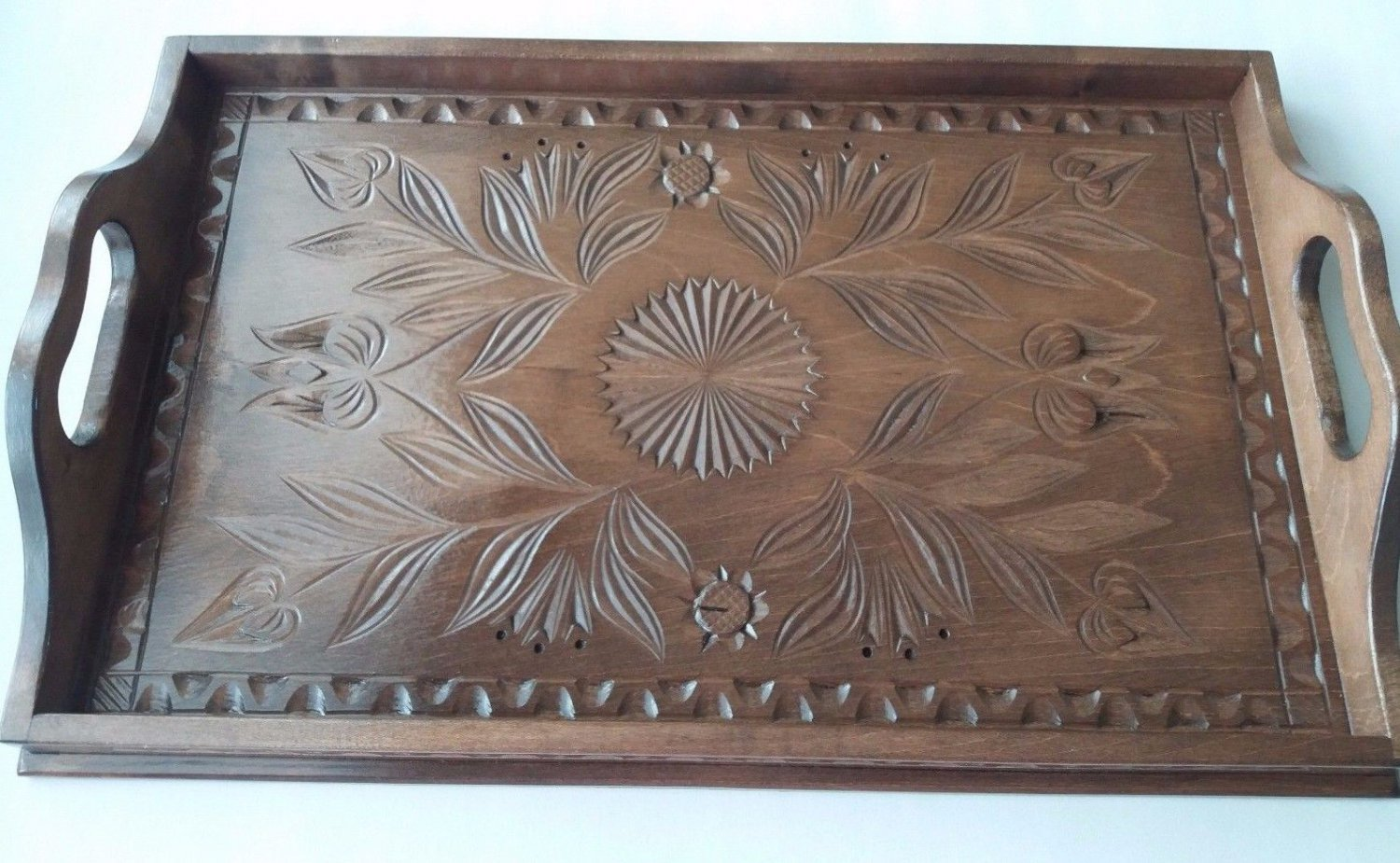Big handcarved tray salver plate home decor serving dish unique brown maple wood