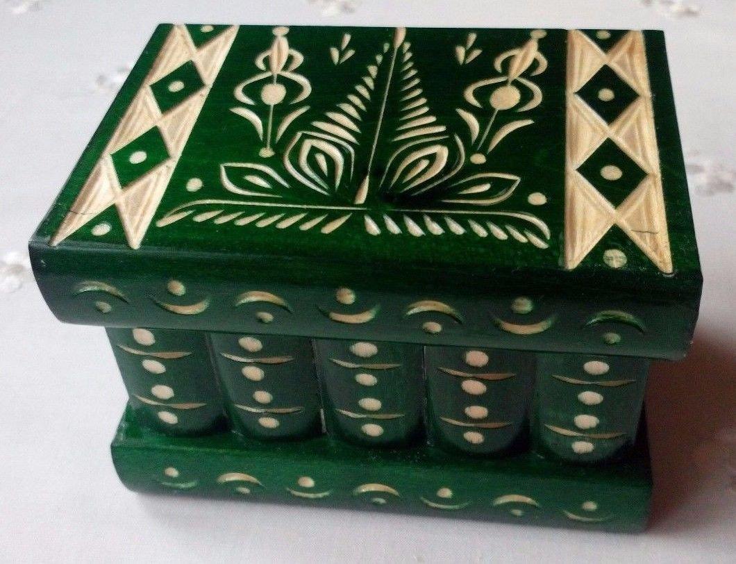 New green handmade wooden puzzle magic storage jewelry secret box brain teaser