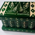 New green handmade wooden puzzle magic storage jewelry secret box brain teaser