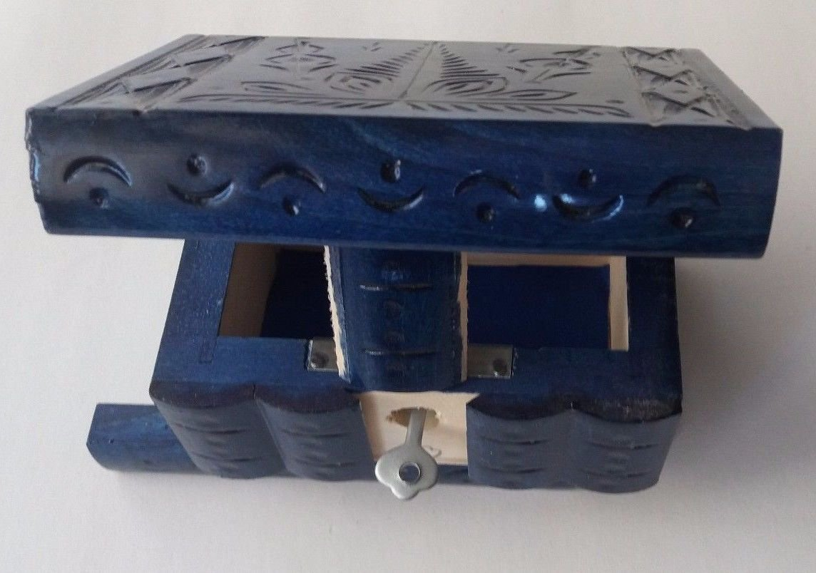New special blue handmade wooden puzzle magic storage jewelry secret mystery box