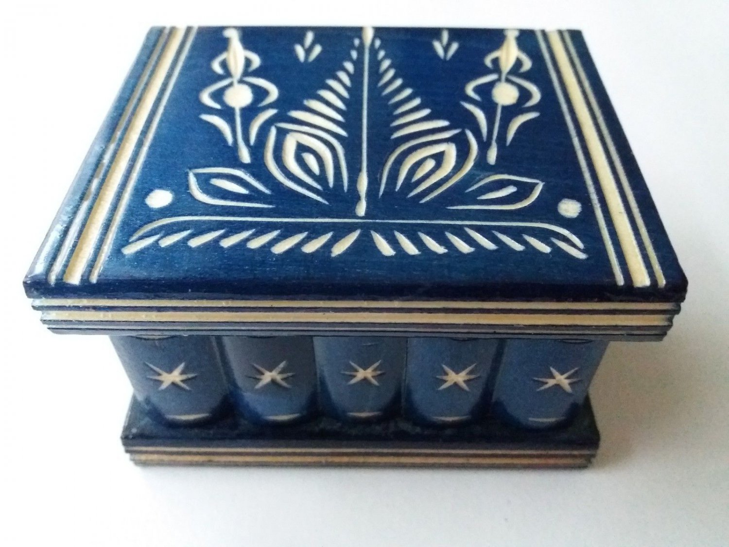 New cute handmade blue wooden secret magic puzzle jewelry ring holder box gift