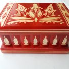 New modern red handmade wooden wizard jewelry puzzle magic box brain teaser