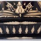 New big huge black wooden wizard jewelry puzzle magic box brain teaser key case