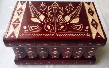 New handcrafted artisan wooden puzzle box secret jewelry storage magic box case