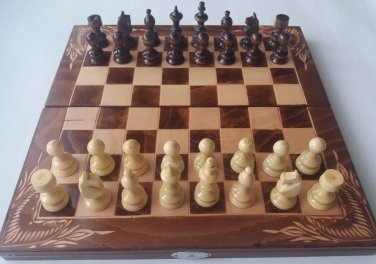 Brown chess set backgammon checkers chesspiece carved beech wood chessboard box